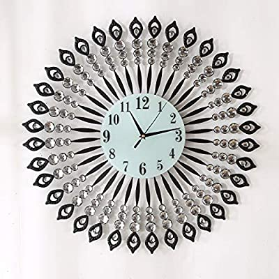 """KINBEDY 28"""" Luxury Crystal Bohemian Style Metal Modern Wall Clock with Silent Movement 9.5"""" White Glass Dial Large Sunburst Big Fancy Decorative Clock for Living Room, Bedroom, Office Space."""