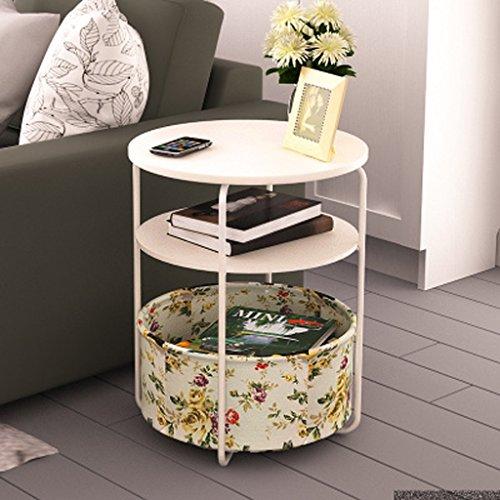 MEILING Moderne Simple Creative mobile Petite table basse simple Double Rond Blanc tissu fleurs Mini salon canapé Côté quelques armoires Coin quelques Table d'appoint