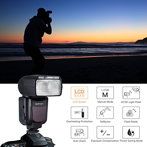 APEMAN Speedlite Flash for Canon, Speedlight for Nikon, Guide Number 58, LCD Display, Multi-Functional Portable Package, Compatible with Sony, Panasonic, Pentax, Olympus DSLR Cameras