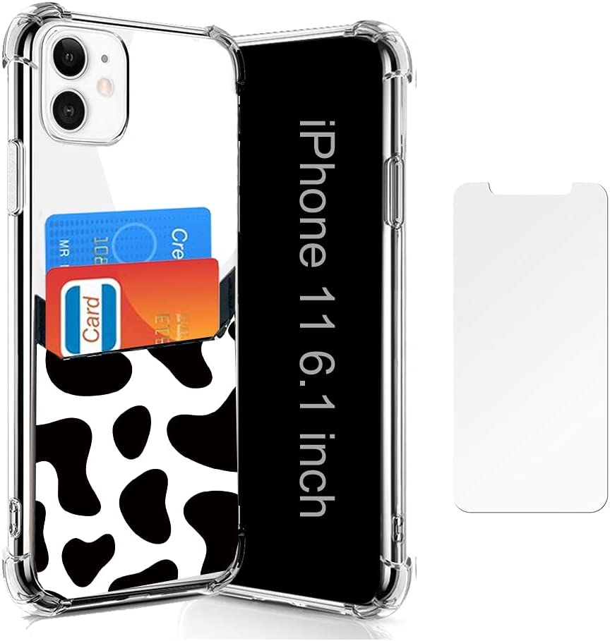 Wallet Slim Case Compatible for iPhone 11 with Card Holder Protective Soft TPU Shockproof Case with PU Leather Card Sleeves for iPhone 11 6.1 Inch (2019) (Black Cow)
