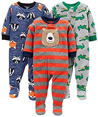Simple Joys by Carter's Boys' 3-Pack Loose Fit Flame Resistant Fleece Footed Pajamas, Bear/Alligator/Fox/Racoon, 18 Months