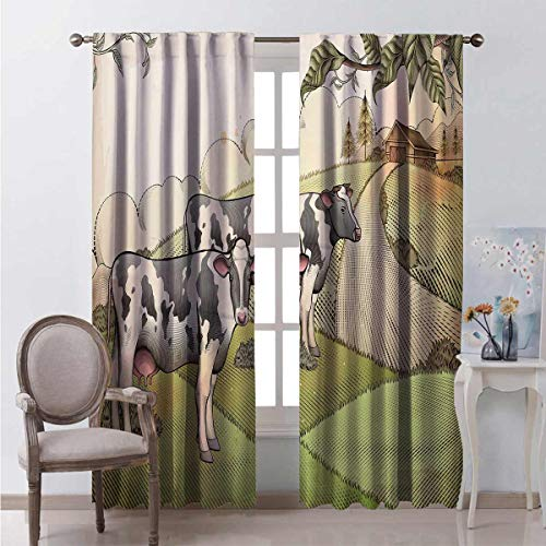 Toopeek Blackout curtain Dairy Cows Countryside 2 panels W96 x L96 Inch
