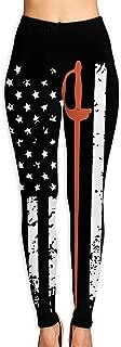 Eplus Women's Vintage Fencing Sabre Sword American Flag Yoga Pants Full-Length [Workout,Fitness Leggings