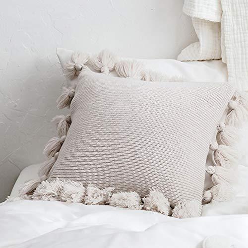 Juhuitong quadratische Kissenbezug Throw Kissen Abdeckung Baumwolle gestrickte Kissenbezug mit Pom Poms Quaste weich handgemachte dekorative für Couch Sofa Büro Lounge Wohnkultur beige 45x45cm