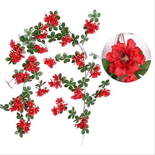 XFLOWR 180 cm rozen kunstbloemen wijnstok wandbehang slinger romantische binnen huis bruiloft decoratie Red 150