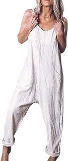 Retro Salopette Lunga Casual Pantaloni Morbuy Donna Nuovo Lino Moda Senza Maniche Harem Appuntamento Jumpsuit Ragazza Overall Hippie Sciolto Cinturino Tuta con Multi Tasche
