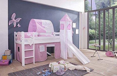 Vorhang für Kinderbetten Spielbetten Kinderhochbetten Lilly 4tlg, Turmgestell