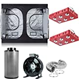 """BloomGrow 2 PCS 1200W LED Grow Light+Multi-Sized Grow Tent+8"""" Inline Fan Carbon Air Filter Ducting Combo for Hydroponic Indoor Plant Growing System (1200W LEDX2+120''X60''X78''+8'' Filter Combo)"""