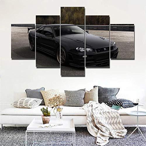 VKEXVDR Cuadro sobre Lienzo-5 Piezas- Coche JDM Negro -Cuadros Modernos Impresión de Imagen Artística Digitalizada|Lienzo Decorativo para Tu Salón o Dormitorio