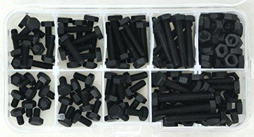 Electronics-Salon en nylon noir métrique M4 6 ~ 30 mm boulon à tête hexagonale Kit assortis, à tête hexagonale.