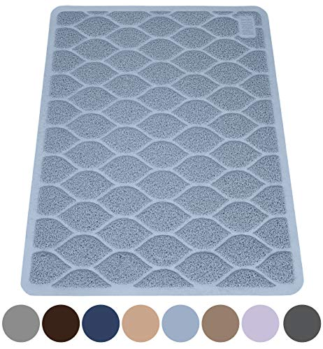 MIGHTY MONKEY Premium Cat Litter Trapping Mats, Phthalate Free, Best Scatter Control, Jumbo XL Sizes, 35 x23 inches, Mat Traps Litter, Easy to Clean, Soft on Kitty Paws, Light Blue