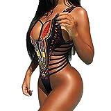 Nmch Swimsuits, Women Dashiki African Printing Swimwear Bandage one Piece Beach Bikini Swimsuit (Black, XL-Large)