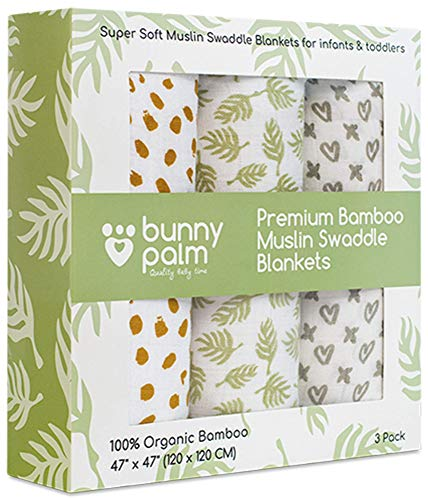Swaddle Blanket Muslin Organic Bamboo for Baby, Set of 3 Swaddles for Boys and Girls, Soft Swaddling Receiving Sleep Blankets, Unisex Infant Toddler Gender Neutral Gift with Green (Multi.)