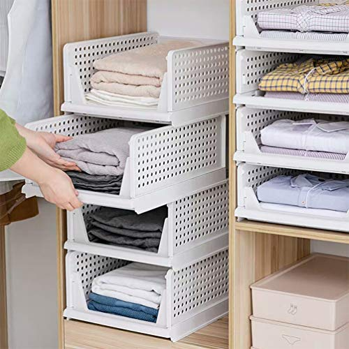Set of 4 Stackable Closet Wardrobe Storage Box Organizer Easy Open and Folding Plastic White Wardrobe Shelves Closet Organiser Box Pull Out Like a Drawer Suitable for Home Bedroom Kitchen