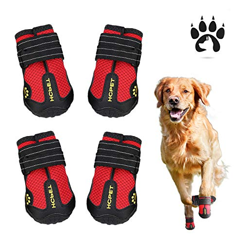 Easiestsuck Dog Boots 4 Pcs,Waterproof Dog Shoes,Outdoor Dog Snow Boots,Dog Booties with Two Layers Adjustable Tightness Reflective Tape,Rugged & Anti-Slip Sole,Dog Shoes for Medium to Large Dogs