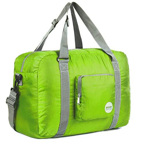 WANDF Leichter Faltbare Reise-Gepäck Handgepäck Duffel Taschen Übernachtung Taschen/Sporttasche für Reisen Sport Gym Urlaub Weekender handgepaeck (A-40L Grün)