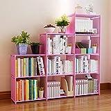 Clewiltess 9 Cube DIY Storage Bookcase,Bookshelf for Kids,Home Furniture Storage Shelves Closet Organizer Rack Cabinet for Bedroom Living Room (Pink)