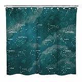 Sunlit Duschvorhang, Sternzeichen mit Wolke, Badezimmerdekoration, Astronomie-Stoff, grau-blau