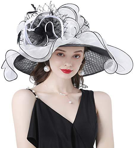 Z&X Sombrero de la iglesia de Kentucky Derby para mujer, de ala ancha, para boda, fiesta de té, doble uso - blanco - Talla única