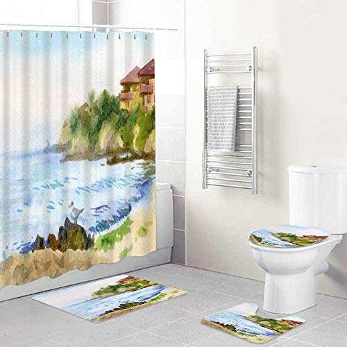 LONSANT Shower Curtain Sets with Rugs Toilet Lid Cover and Bath Mat,Blue Architecture Watercolor Sketch Nature Old Southern Town Parks Bay Beach Sky Brush Bulgaria,Waterproof Bath Curtains With Hooks