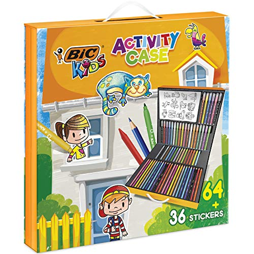 BIC Kids 961558 Activity Case (24 Buntstifte, 24 Filzstifte, 16 Malkreiden und 36 Sticker zum Ausmalen)