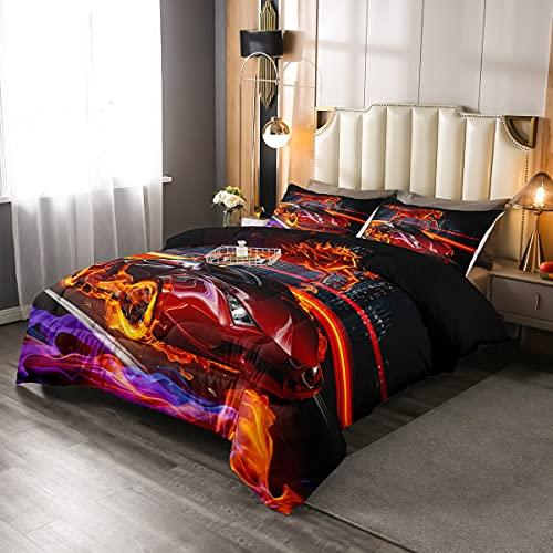 Juego de edredón de coche de carreras de color rojo, tamaño único, juego de cama para niños, adolescentes, decoración de la habitación con llamas, edredón acolchado con 1 funda de almohada