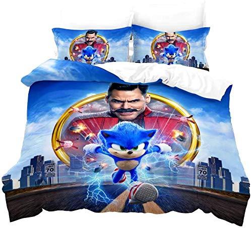 Ropa de Cama Sonic Anime Hedgehog Ropa de Cama para niños con Funda nórdica y Funda de Almohada Impresión Digital Microfibra 3D Poliéster (03 135x200 + 50x75x2)-02_200x200 + 50x75x2