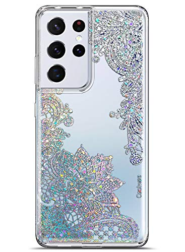 Coolwee Clear Glitter for Galaxy S21 Ultra Case Thin Flower Slim Cute Crystal Lace Bling Women Girl Floral Plastic Hard Back Soft TPU Bumper Protective Cover for Samsung Galaxy S21 Ultra Mandala Henna