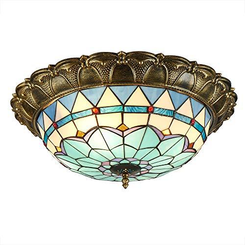 Tiffany Stil LED Deckenleuchte, Schöne Deckenleuchte dimmbar Deckenlampe Jugendstil Mediterraner-Lampen Gang Beleuchtet Porch Light Corridor Leuchten Badezimmer Balkon Farbe Glas Lampenschirm