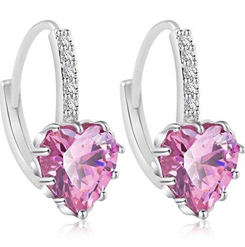 Pendientes de tuerca con forma de corazón chapados en cobre con cristales de estrás para mujer