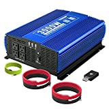 KINVERCH 3000W Power Inverter 4 AC Outlets DC 12V to 110V AC Car Inverter with 2 USB Port and Bluetooth APP Remote Control