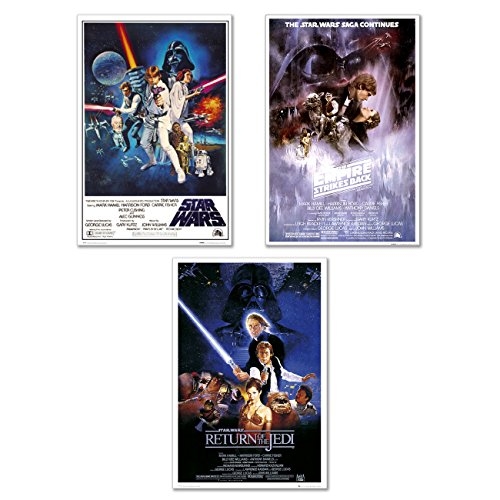 Star Wars Episode IV, V & VI - 3 Piece Movie Poster/Print Set (3 Regular Style Posters) (Size: 24 inches x 36 inches Each) (Black Poster Hanger)