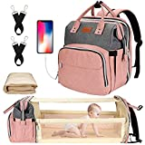 Diaper Bag with Changing Station, Baby Diaper Bag, Backpack Diaper Bag, Baby Bag with Built-in USB Charging Port and Stroller Straps Large Capacity Waterproof (Grey+Pink)
