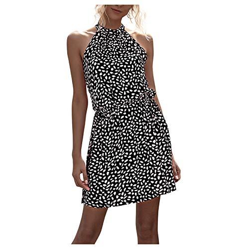 SDFA - Vestido sexy, estampado floral con espalda descubierta, para mujer, informal, versátil y adecuado para todos los lugares, muy cómodo de llevar. Negro M