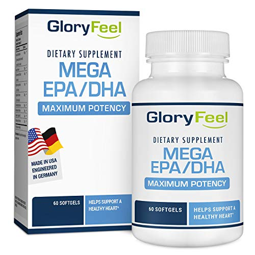 Ultimate EPA DHA Omega 3 Fish Oil Supplement - Essential Fatty Acid Combination - 30 Day Supply Burpless Capsules of High Dose EPA/DHA