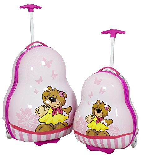 Hartschalen Kinder Koffer-Set 2-teilig Teddy-Bär-Motiv Pink Trolley für Mädchen 2 LED-Rollen