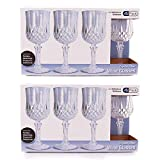 Party Bargains Plastic Wine Glasses | Elegant Hard Plastic Disposable Wine Glass Ideal for Parties and Wedding to Serve Champagne & Wine | Pack of 8