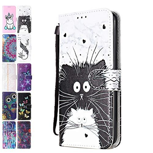 Ancase Lederhülle kompatibel für Huawei P Smart 2017 2018/ Honor 9 lite Hülle 3D Muster Katze Marmor Handyhülle Flip Hülle Cover Schutzhülle mit Kartenfach Handytasche für Mädchen Damen