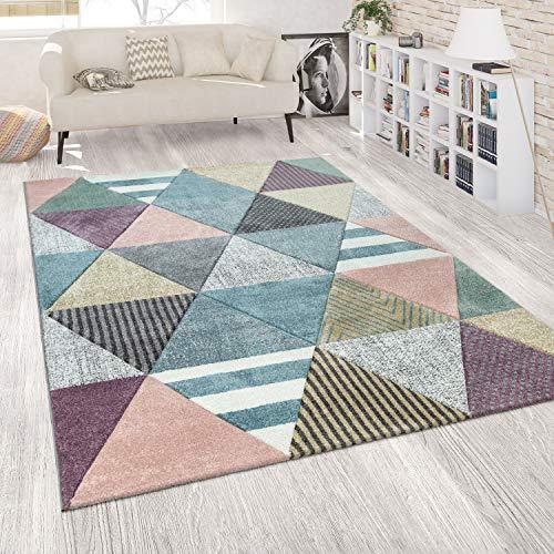 Paco Home Alfombra Color Salón Colores Pasteles Diseño en 3D con Motivos de Diamantes Diseño Alegre, tamaño:160x230 cm