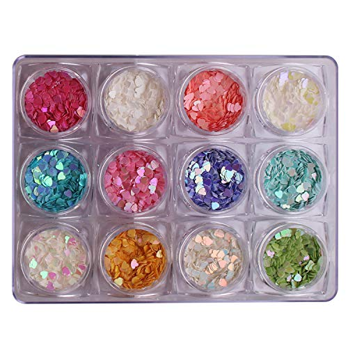 WOKOTO 12 Colors Heart-shaped Nail Art Glitter Sequins Holographic Laser Paillettes Mix Colors Sequins For Nail Art Decoration Eye Make Up Decoration