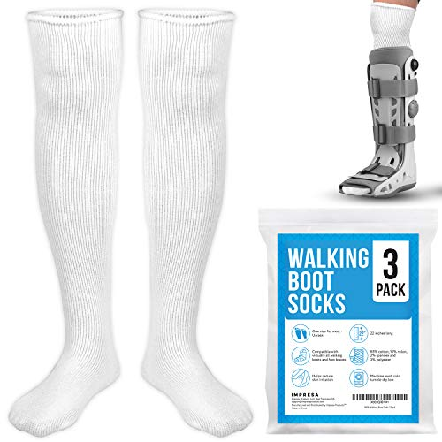 [3 Pack] Impresa Replacement Sock Liner for Aircast Compression Walking Boot or Walker Brace - Breathable Orthopedics Socks for Cast Boot - Walking Boot Socks for Women and Men - One Size Fits Most