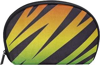 Small Shell Cosmetic Beauty Bag Rainbow Color Stripe Half Moon Travel Handy Organizer Clutch Pouch