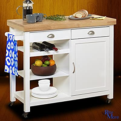 Large White Rolling Movable Kitchen Island On Wheels with Breakfast Bar, Wine Rack, and Storage by RiteMore