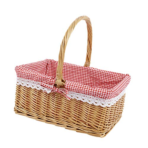 Hemoton Rectangular Basket Lined with Gingham Lining Country Picnic Basket with Liner Handle Decorative for Home Outdoor Large Size