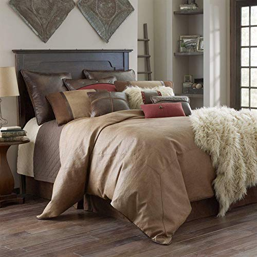 HiEnd Accents Brighton Western Tan Faux Suede Bedding Comforter Set, Super King, 4 PC