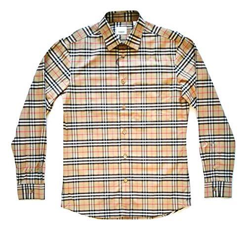 Burberry 80209661 - Camisa de manga larga de algodón para hombre, color beige