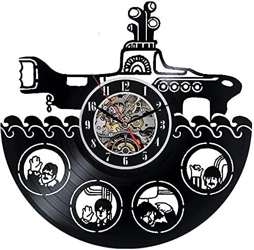 kkkjjj Reloj de Pared de Vinilo Beetle Decoración Negra Reloj de Pared con Disco de Vinilo de decoración Moderna Este Reloj Familiares y Amigos en Cualquier ocasión