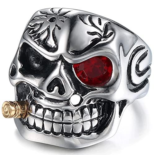 XKUN Creatividad Titanium Steel Anillo Fumador Soldado Skull GóTico, Dominio Personalizado Punk Hombres JoyeríA-B,15