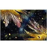 Nórdico pluma perla lienzo pintura cartel abstracto arte creativo pintura cartel HD impresión sin marco pared arte decoración de pared 50x100cm / 19.6 'x39.4' / NoFrame