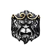 EZSONA Men's Gold Journey to The West Monkey King Sun Wukong Stainless Steel Ring Size 7